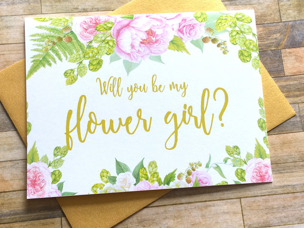 Gold and Pink Flower Girl Proposal Card
