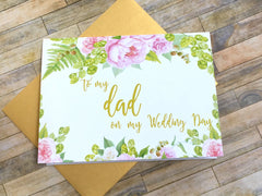 Dad Wedding Day Card Gold and Pink