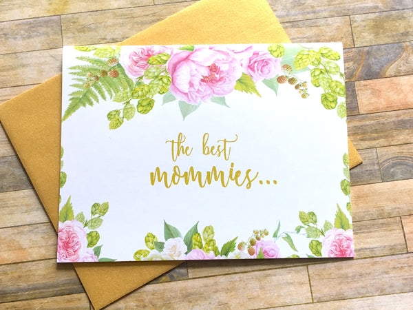 Gold and Pink Best Mommies Get Promoted to Grandma Card