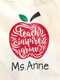 Teach Inspire Grow Personalized Tote Bag