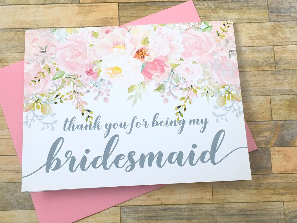 Pink and Grey Thank You For Being My Bridesmaid Card