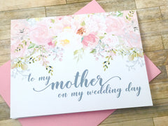 PGrey Pink Mother / Father on My Wedding Day Cards