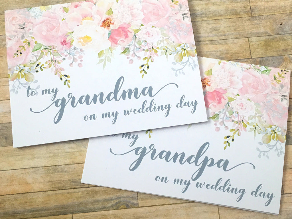 To My Grandma / Grandpa on My Wedding Day Card Pink and Grey