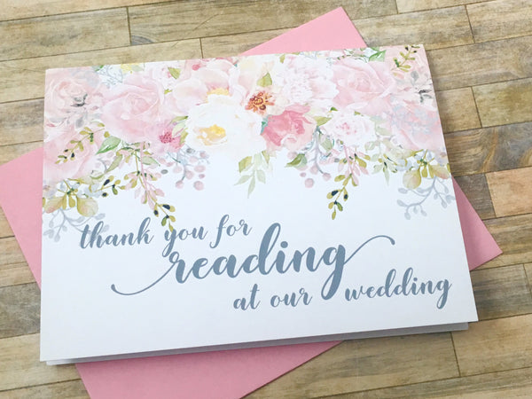 Thank You for Reading at Our Wedding