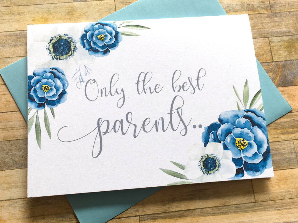 White and Navy Flowers Pregnancy Card for Parents