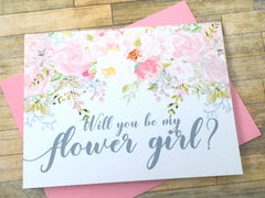Grey and Pink Flower Girl Proposal Card