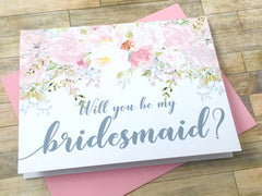 Grey and Pink Bridesmaid Proposal Card