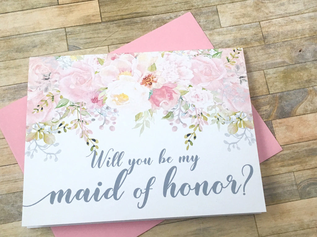 Grey and Pink Maid of Honor Proposal Card