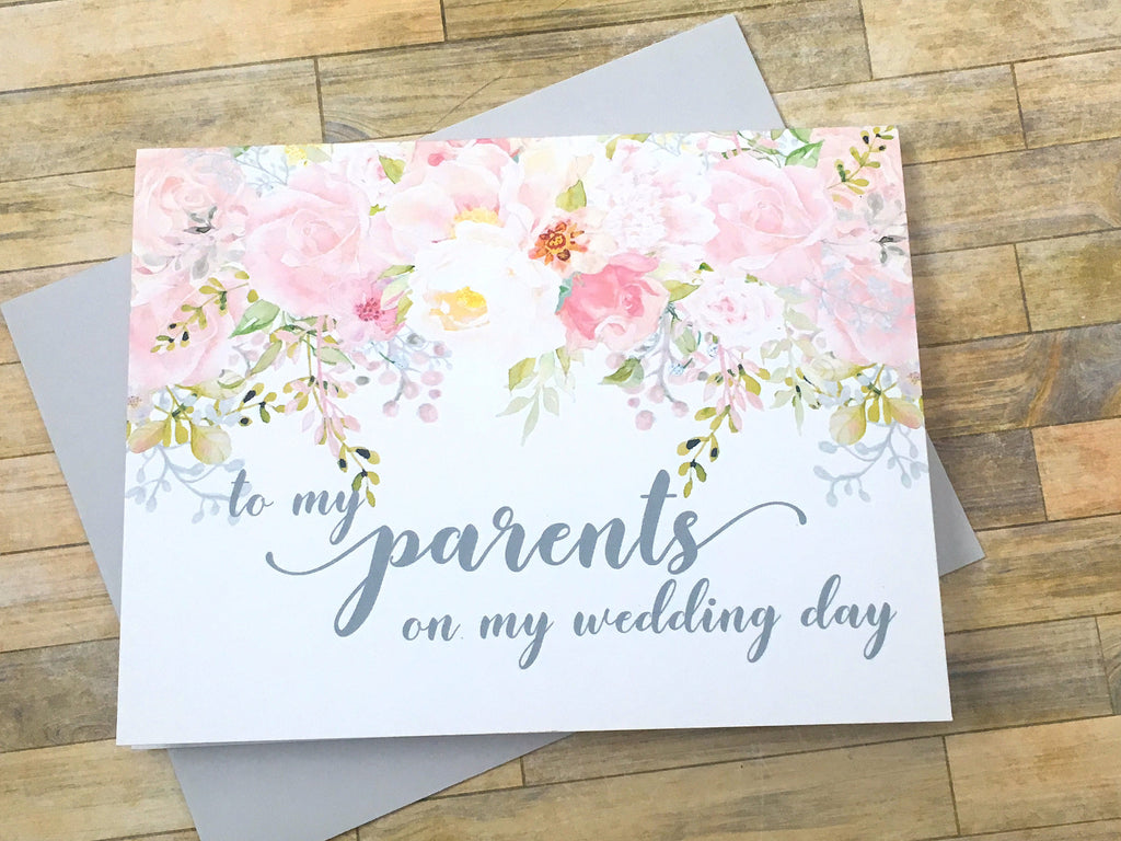 Pink and Grey To My Parents on My Wedding Day Card