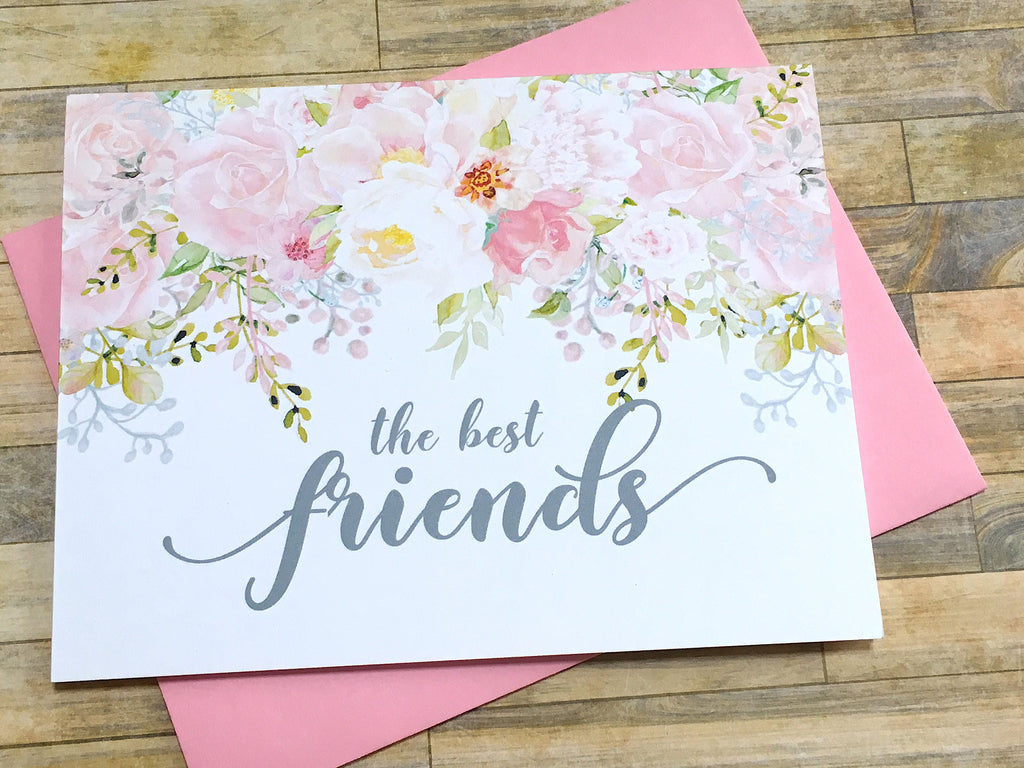 Best Friends Get Promoted to Auntie card Pink and Grey