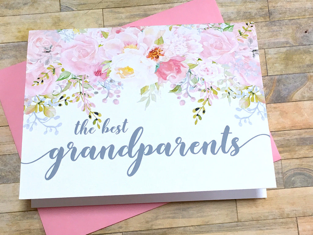 Pink and Grey Grandparents Get Promoted to Great Grandparents Card