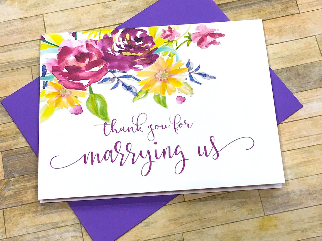 Officiant Thank You for Marrying Us Purple Florals