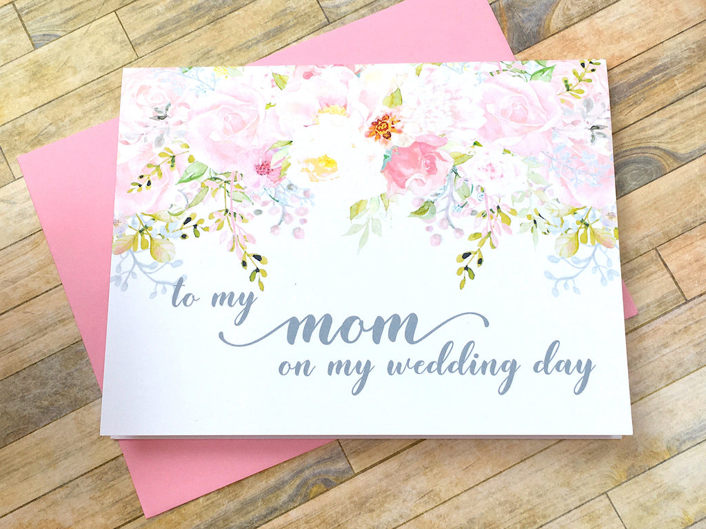 Pink and Grey Card for Mom on My Wedding Day