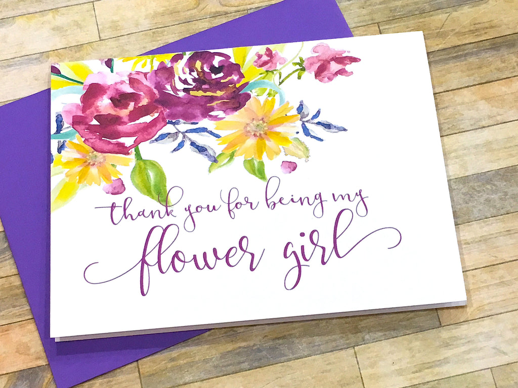 Flower Girl Thank You Card Purple Florals