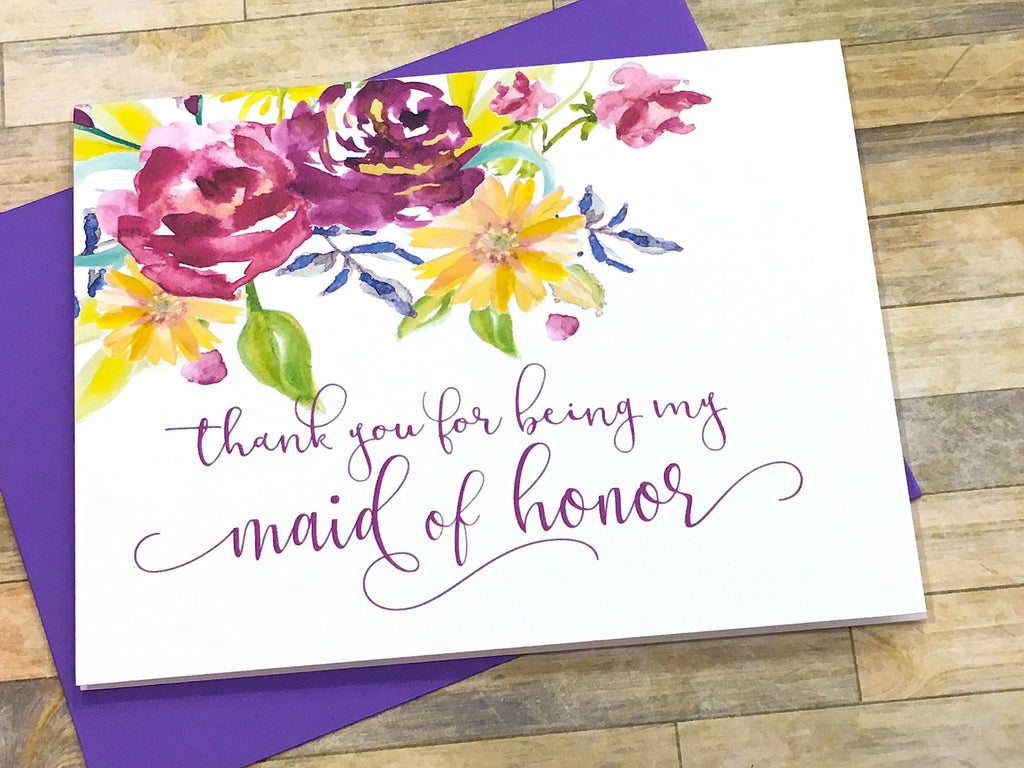 Matron of Honor Thank You Card Purple Floral