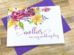 Mother / Father on My Wedding Day Cards Purple
