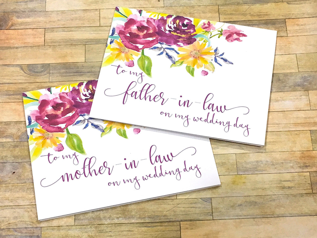 Mother / Father in Law on My Wedding Day Cards Purple