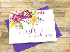 To My Sister on My Wedding Day Card Purple