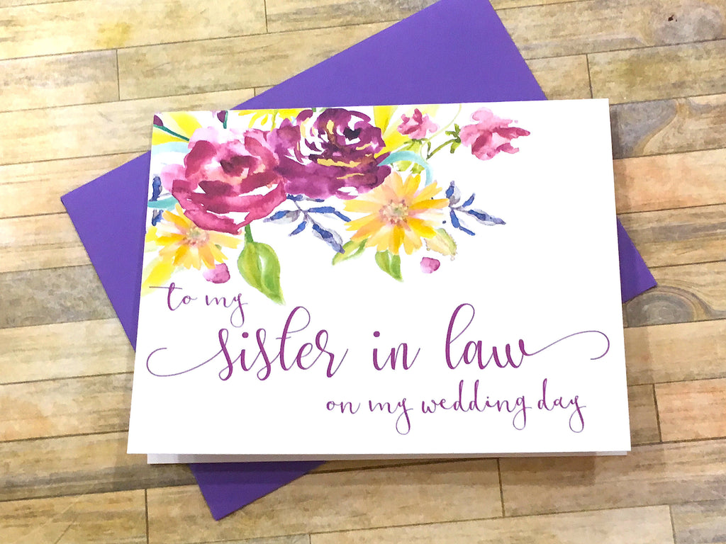 To My Sister in Law on My Wedding Day Card Purple
