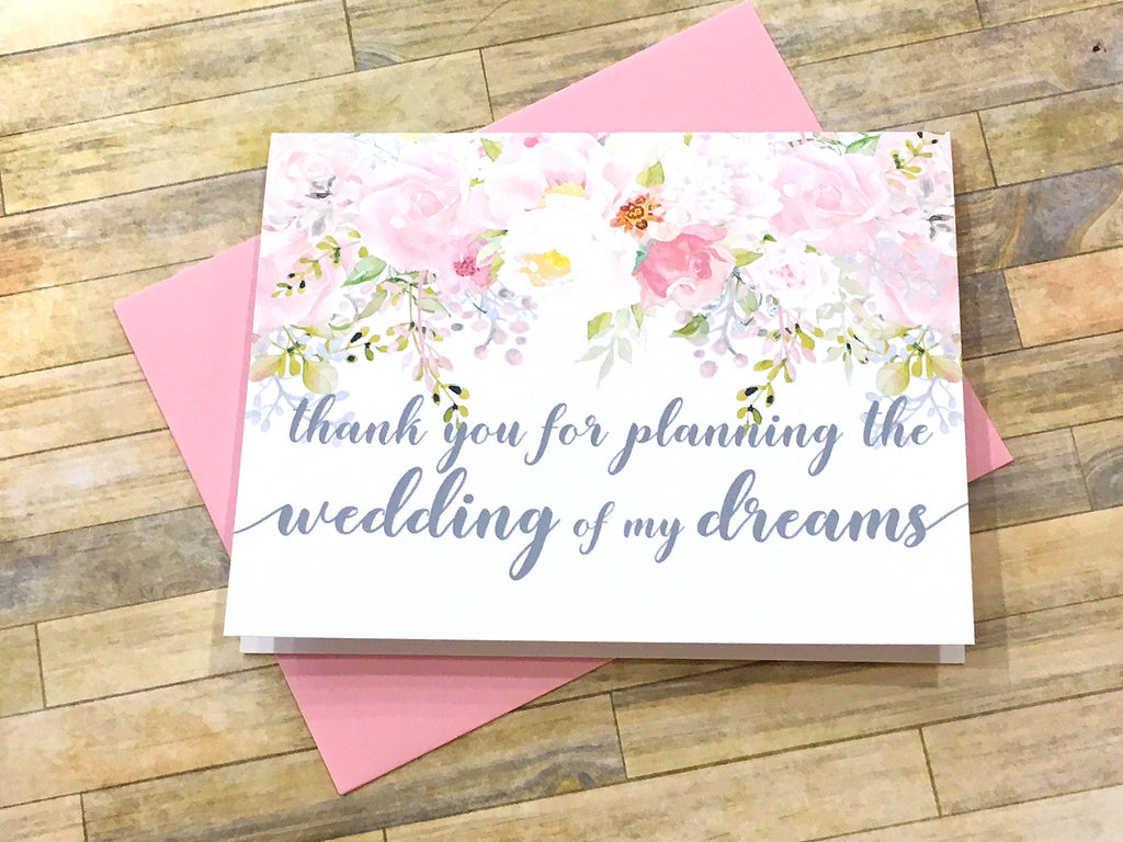 Wedding Planner Thank You Card Pink and Grey