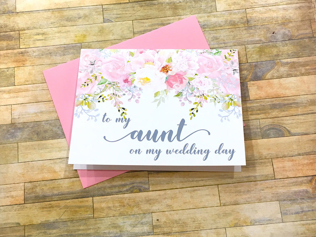 To My Aunt on My Wedding Day Card Pink and Grey