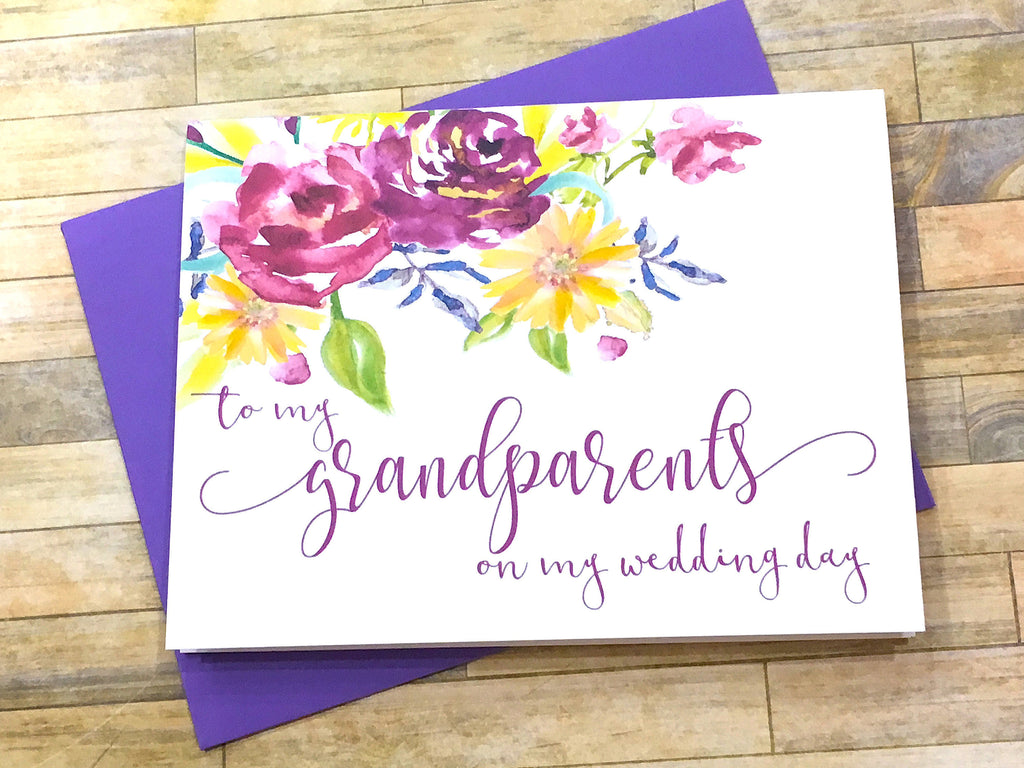 Script Grandparents on My Wedding Day Card Purple