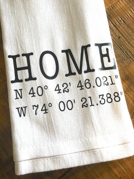 GPS Home Coordinates Personalized Tea Towel