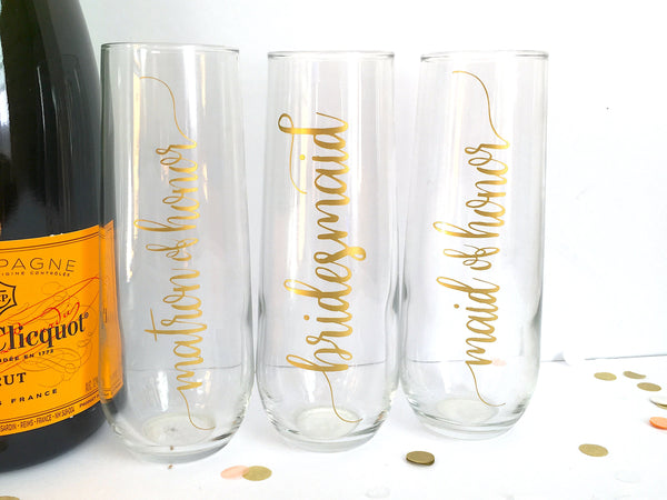Gold Bridal Party Champagne Flutes