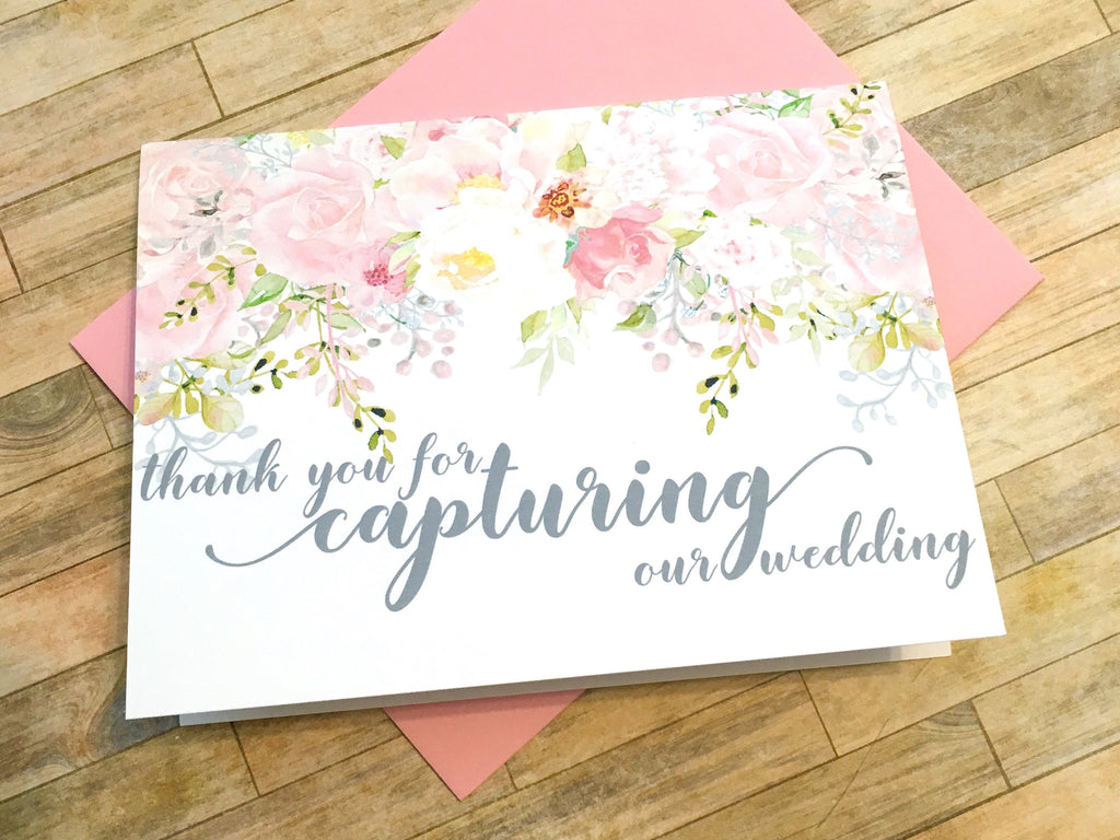 Photographer Thank You Card Pink and Grey