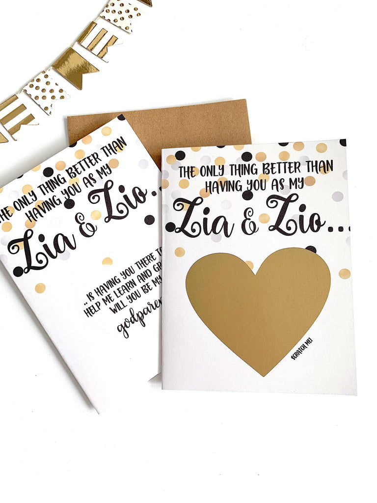 Zia & Zio Godparents Proposal Scratch Off Card