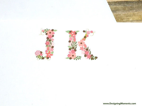 Floral Monogram Personalized Flat Cards