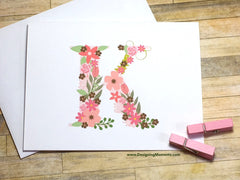 Large Floral Monogram Personalized Folded Note Cards