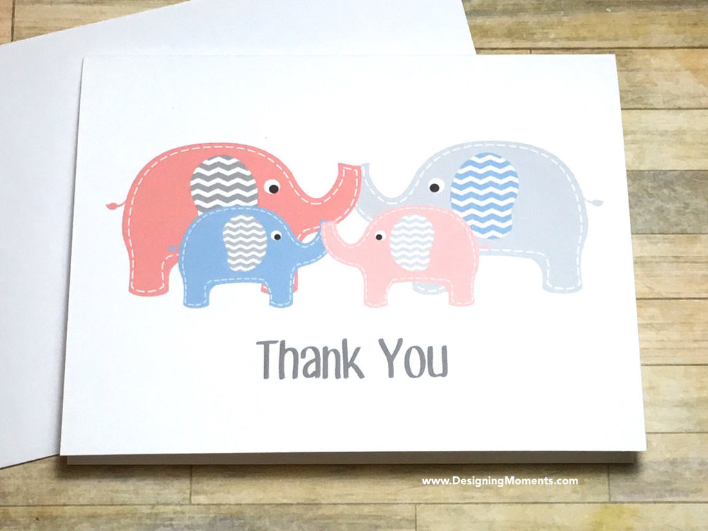 Twin Boy Girl Elephants Thank You Cards