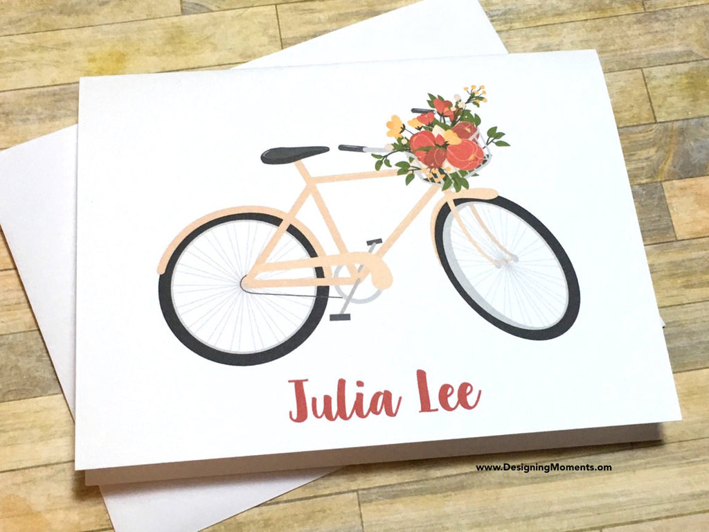 Bicycle with Flowers Personalized Note Cards