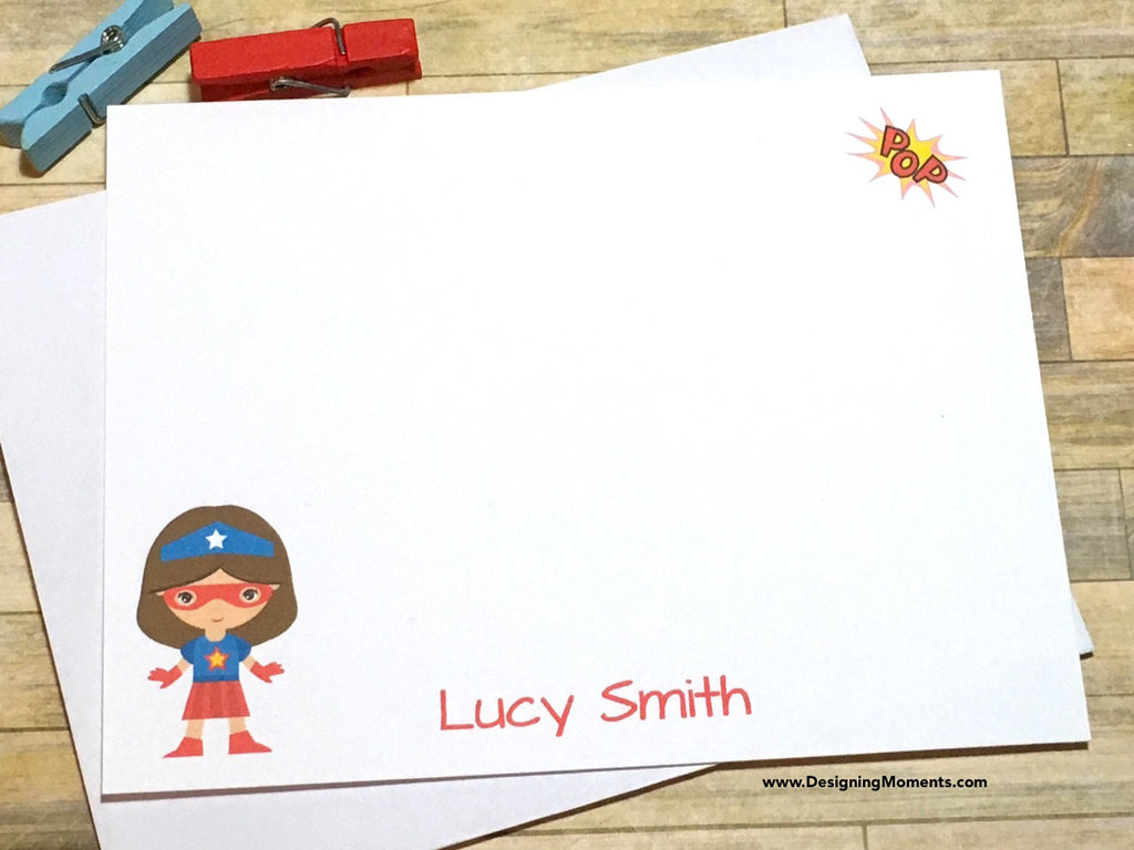 Girls Super Girl Personalized Note Cards