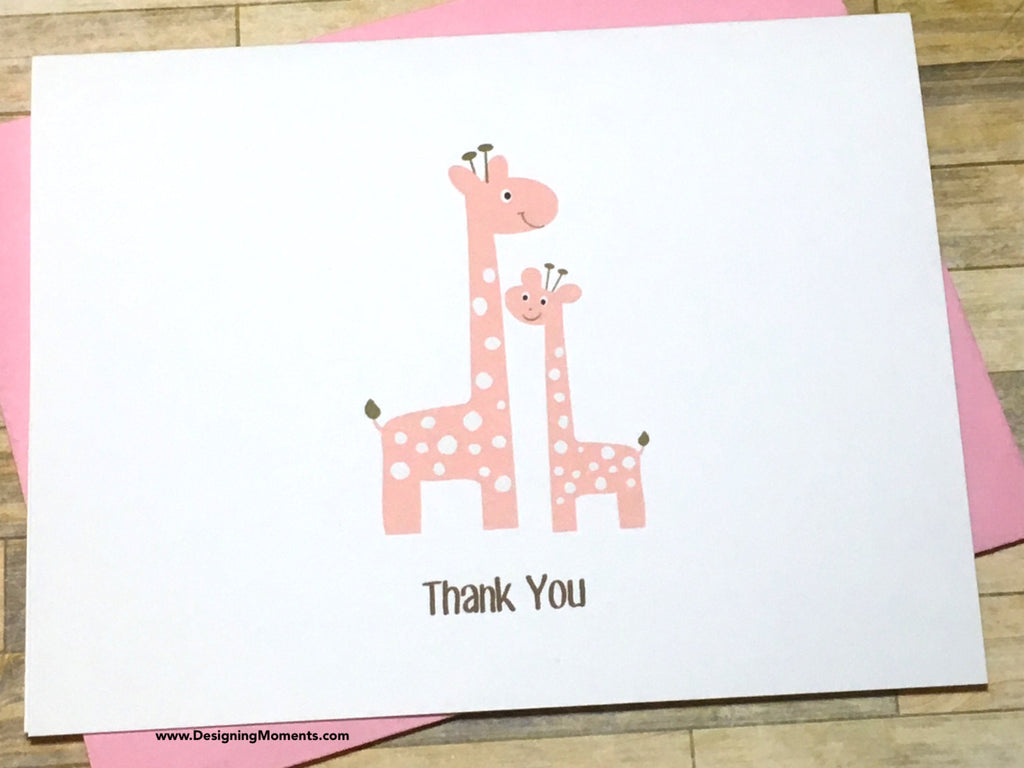 Pink Mommy and Me Giraffe Thank You Cards