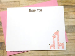 Mommy & Baby Pink Giraffes Thank You Cards