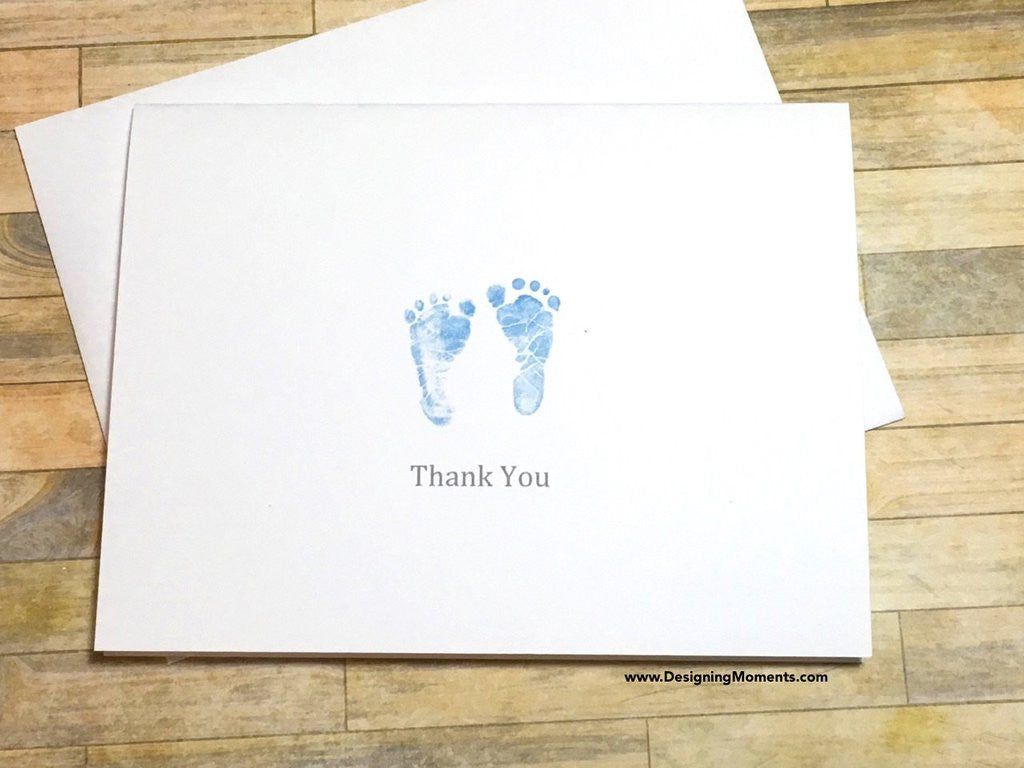 Pink Newborn Baby Footprints Thank You Cards