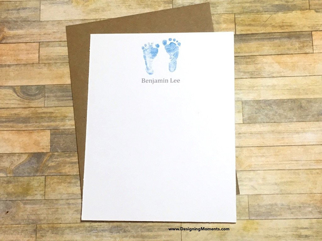 Blue Newborn Baby Footprints Personalized Flat Cards