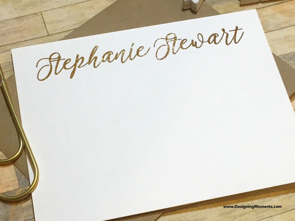 Gold Foil Note Cards with Custom Name