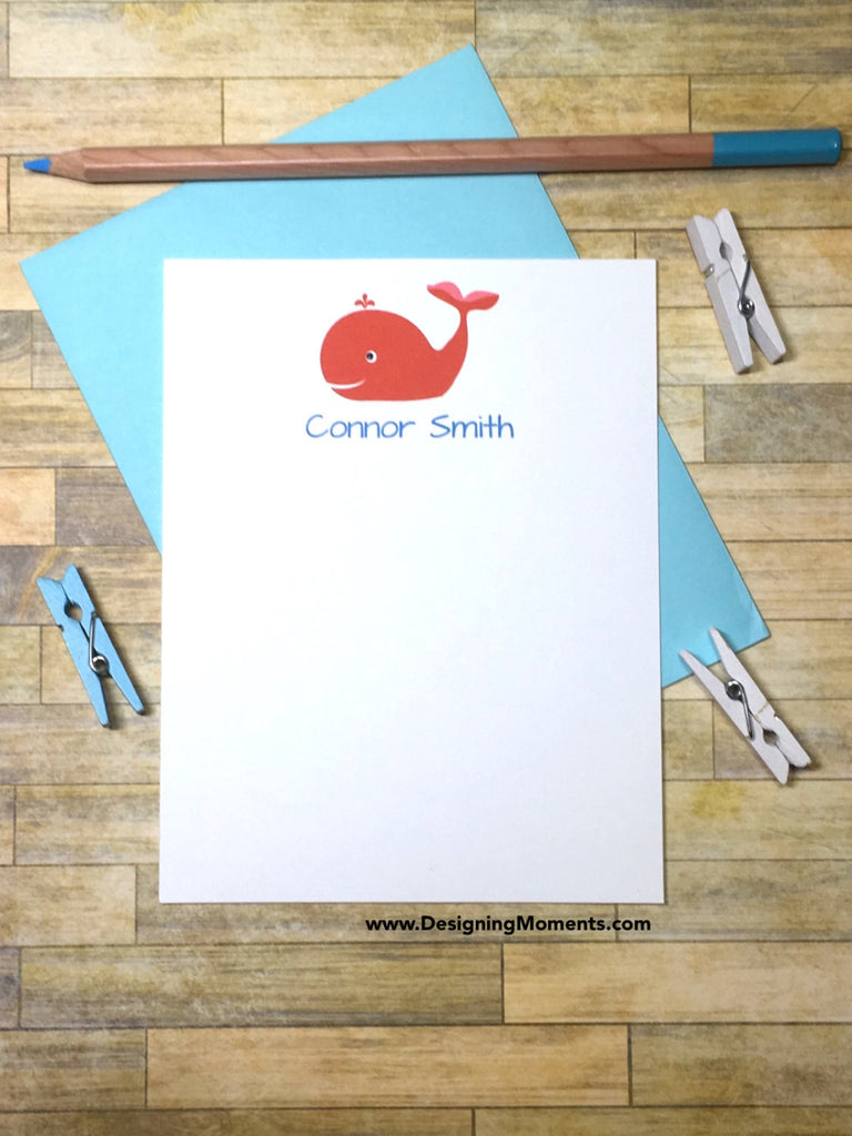 Red Whale Personalized Note Cards