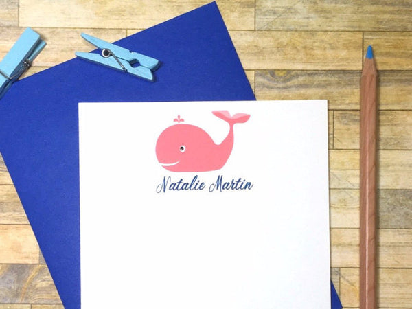 Pink Whale Personalized Note Cards