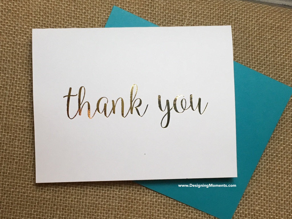 Modern Gold Foil Thank You Cards for Wedding