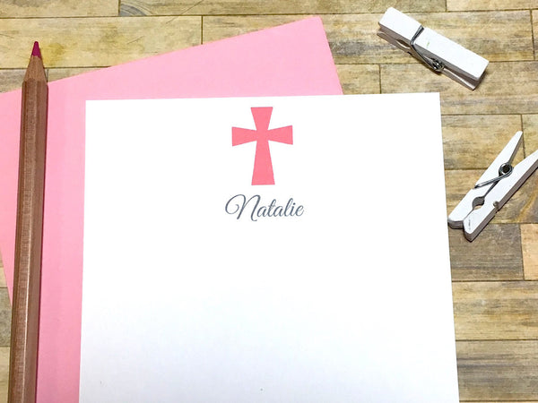 Pink Cross Personalized Cards