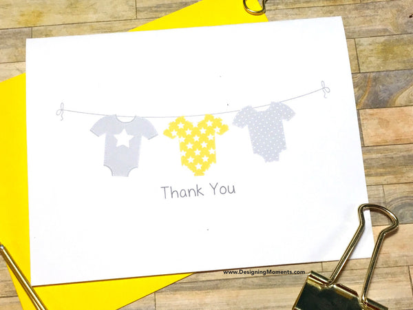 Clothesline Thank You Cards