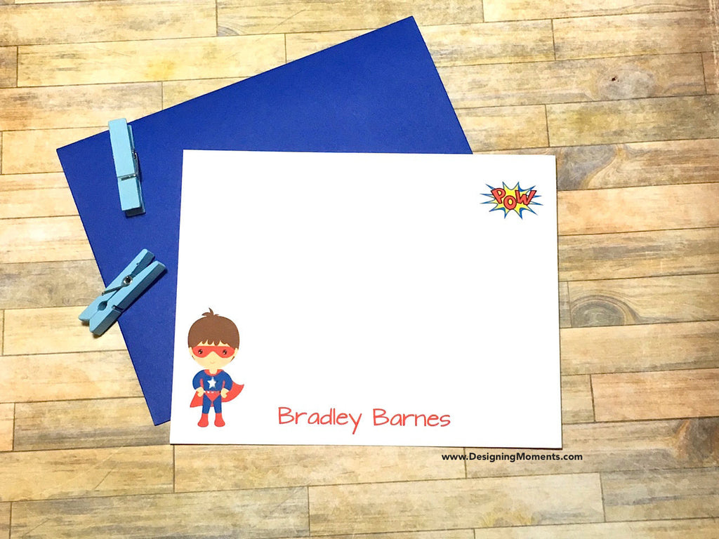 Boys POW Super Hero Personalized Note Cards