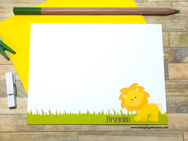 Jungle Lion Personalized Note Cards