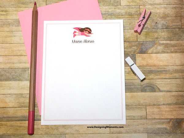 Super Hero Girls Pink Personalized Note Cards