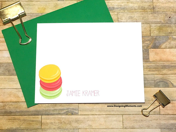 Stacked Macarons Personalized Note Cards