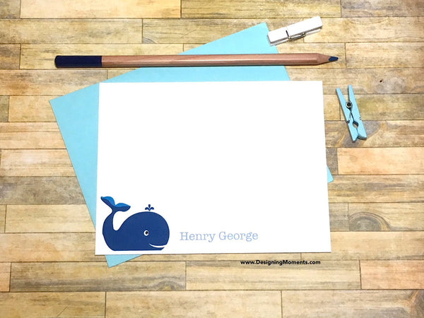 Blue Whale Personalized Note Cards